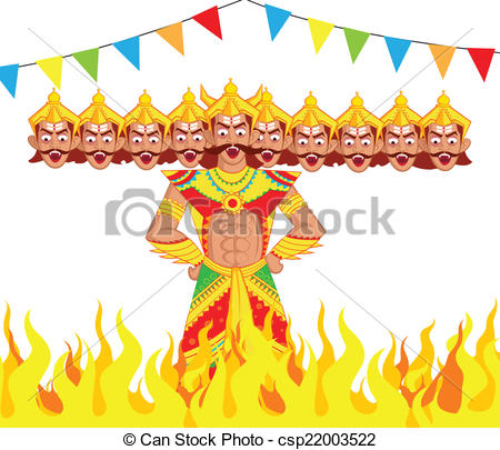 Vector Illustration of Ravana Dahan, Burning effigy of Ravana in.