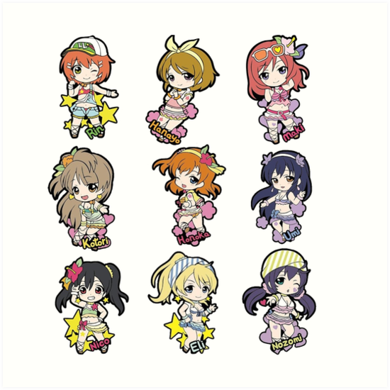 "Love Live! Natsuiro Egao 1 2 Jump Chibis Sticker Sheet"" Art Prints."