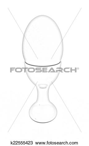 Drawing of Easter egg on gold egg cups k22555423.