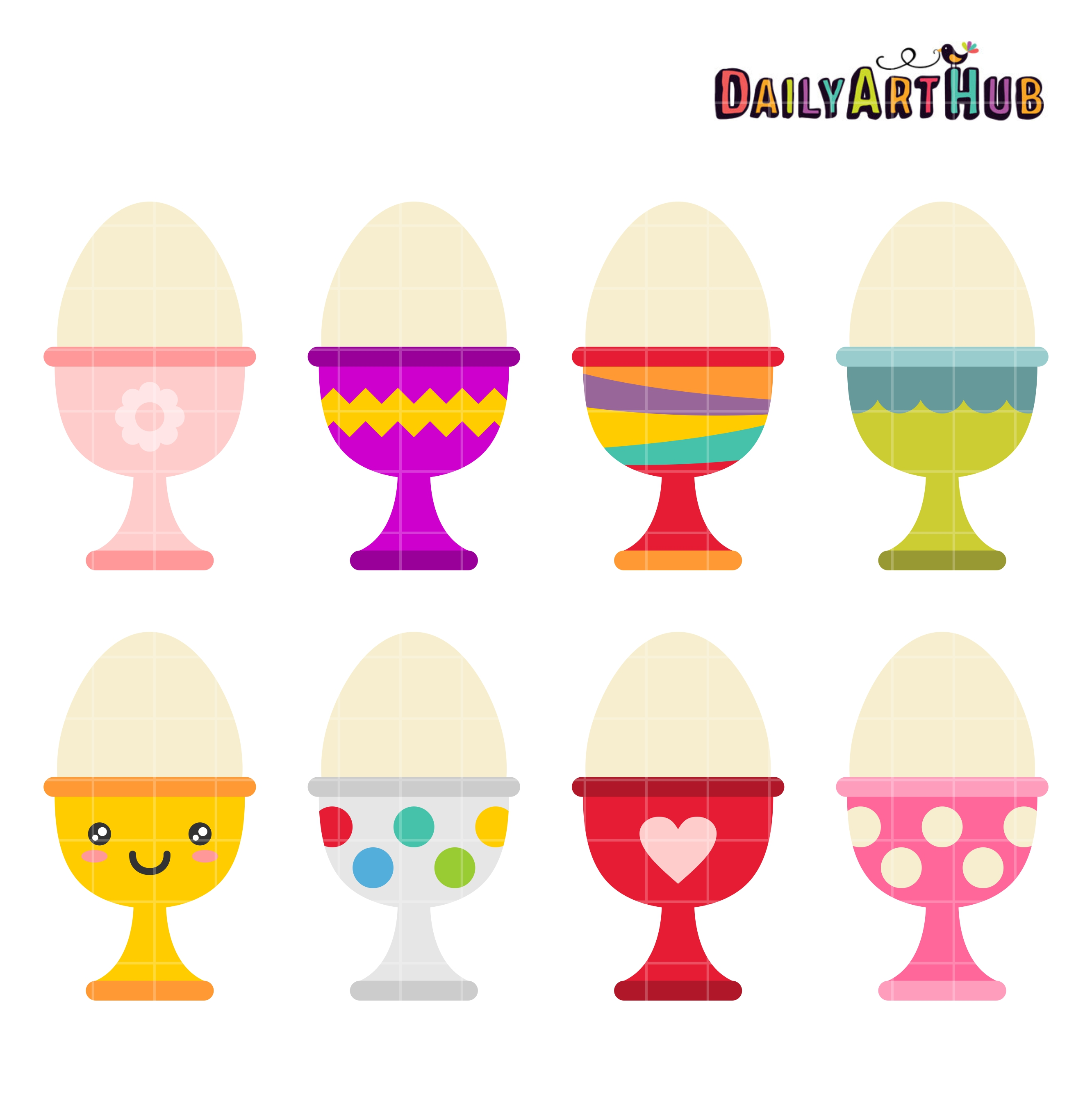 Egg Cups Clip Art Set.