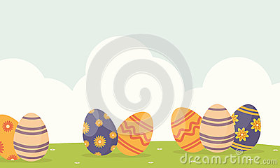Background Easter With Egg On Hill Stock Vector.