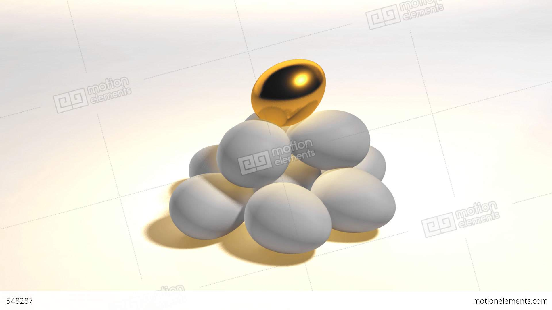 Golden Egg And Egg Hill Stock Animation.