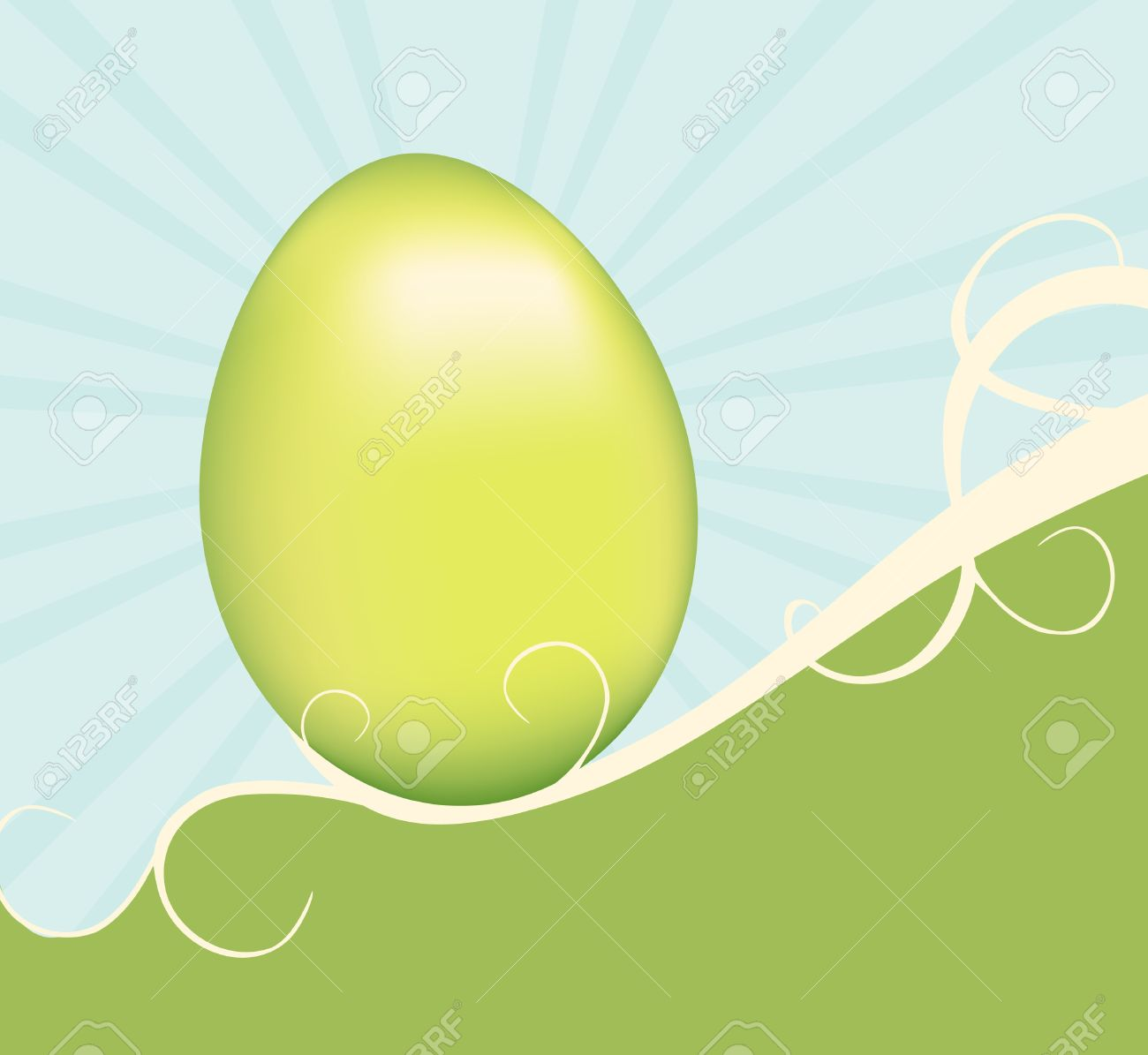 A Green Easter Egg Supported By Swirling Vines On A Hill. Pastel.