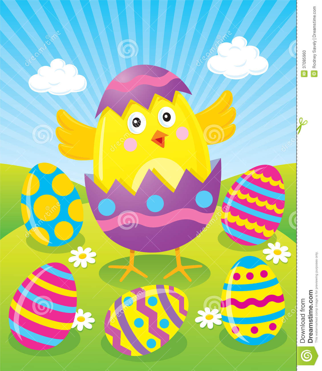 Easter Chick Hatching From Egg Stock Photo.