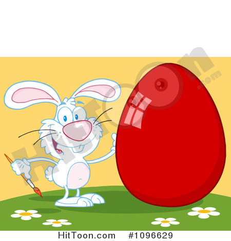 Easter Bunny Clipart #1096629: White Easter Bunny Painting a Shiny.