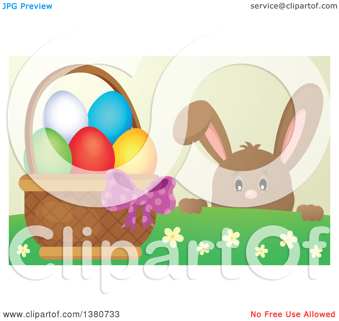 Clipart of a Brown Bunny Rabbit Peeking over a Hill at an Easter.