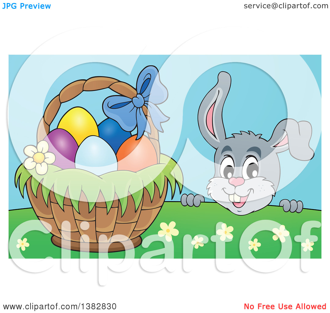 Clipart of a Happy Gray Easter Bunny Rabbit Peeking over a Hill at.