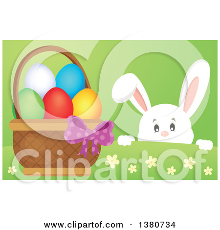 Clipart of a White Bunny Rabbit Peeking over a Hill at an Easter.