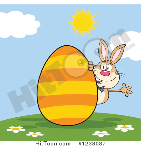 Easter Clipart #1238087: Brown Rabbit Waving on a Hill, with a.