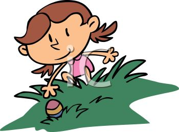 Royalty Free Clip Art Image: Girl Reaching for an Easter Egg During.