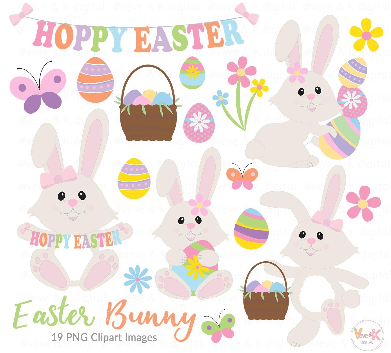 Girl Bunny, Easter Bunny, Easter Clip Art, Egg Hunt Clip Art, Easter Bunny  Clip Art, Spring Flowers, Easter eggs basket, Easter egg hunt.