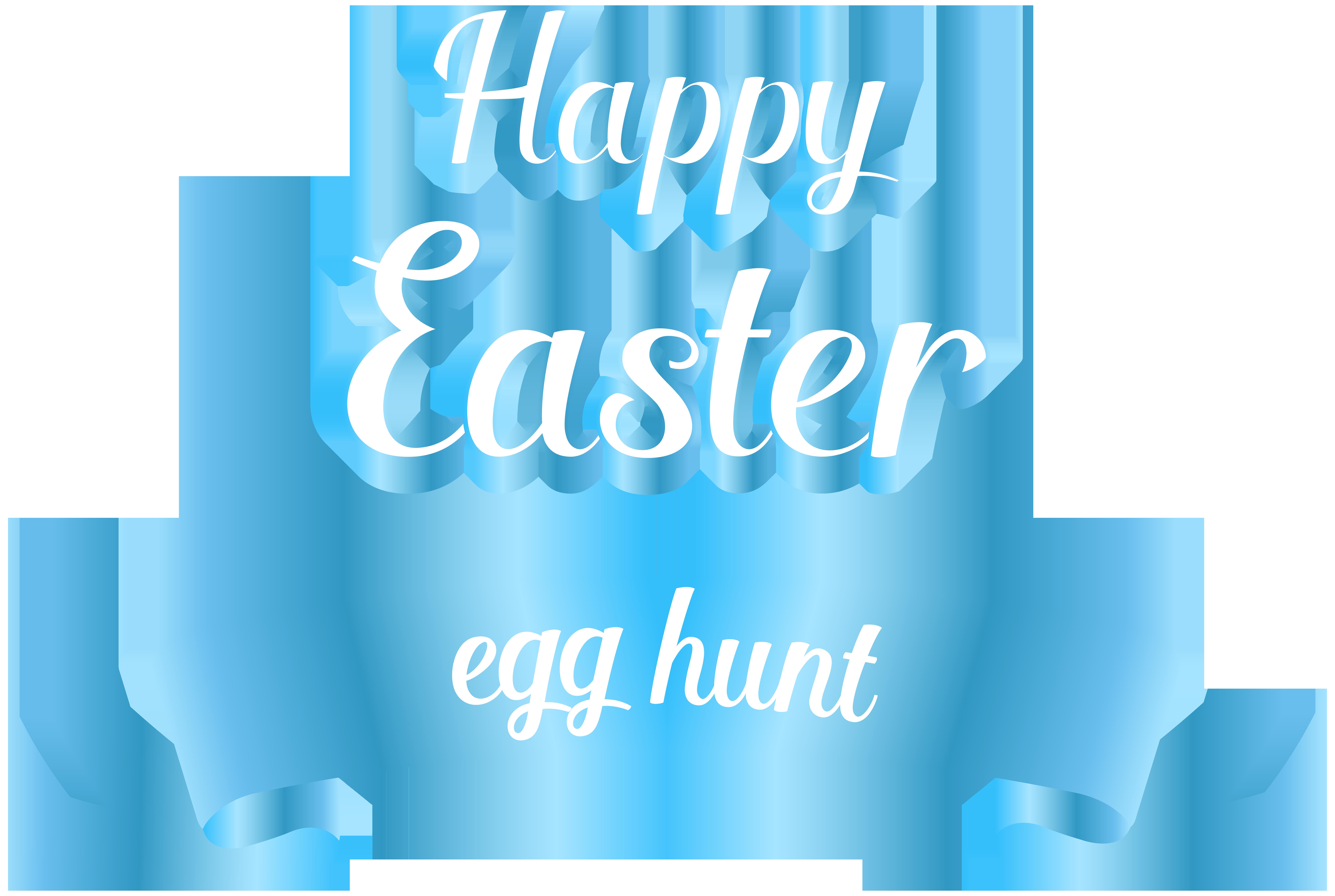 Happy Easter Egg Hunt Transparent PNG Clip Art.