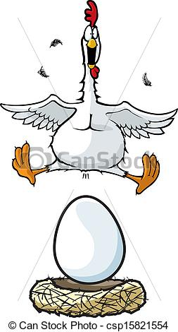 Clipart Vector of Laying Hen.
