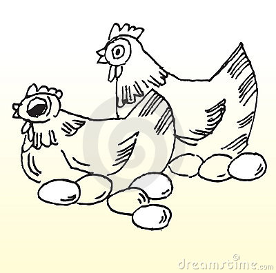 Clip Art Hen With Eggs Clipart.