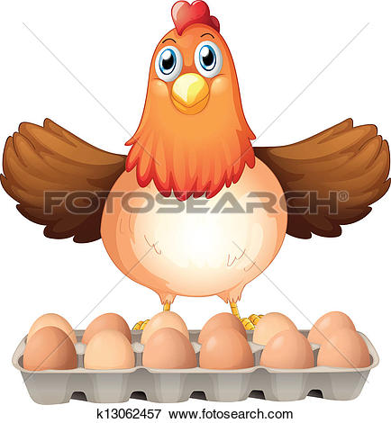 Clip Art of A chicken laying eggs beside the young boy with an egg.