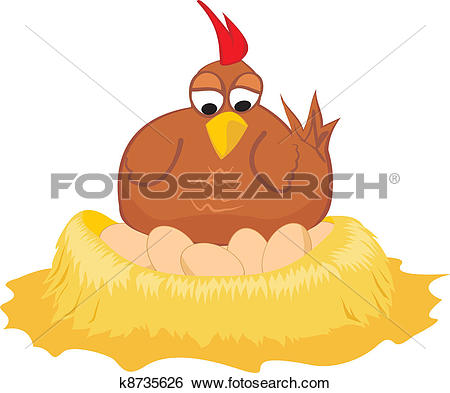 Clipart of Positions of a hen laying eggs k13105103.