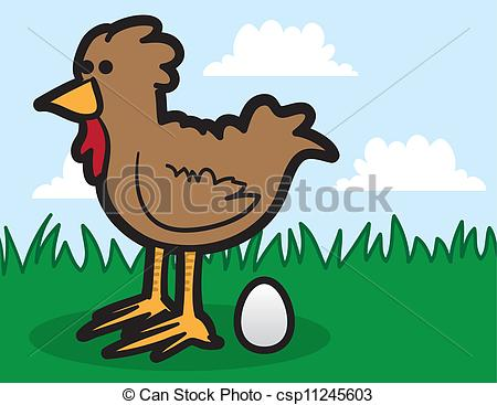 Vector Clipart of Chicken Laying Egg.
