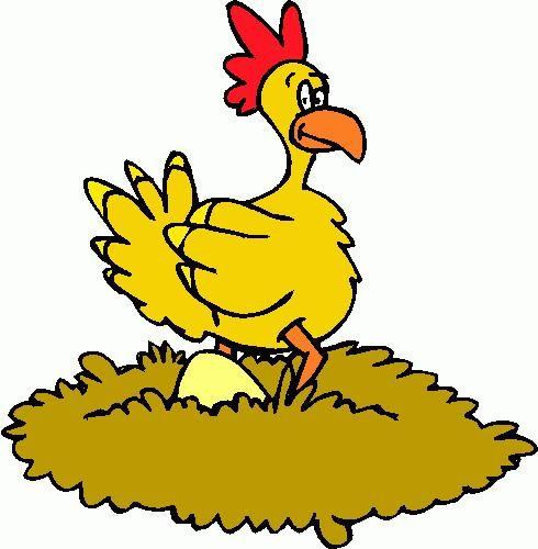 Cartoon chicken laying eggs.