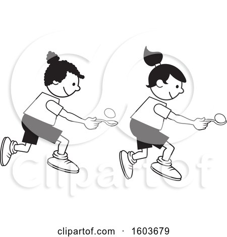 Clipart of Girls During a Field Day Egg and Spoon Race.