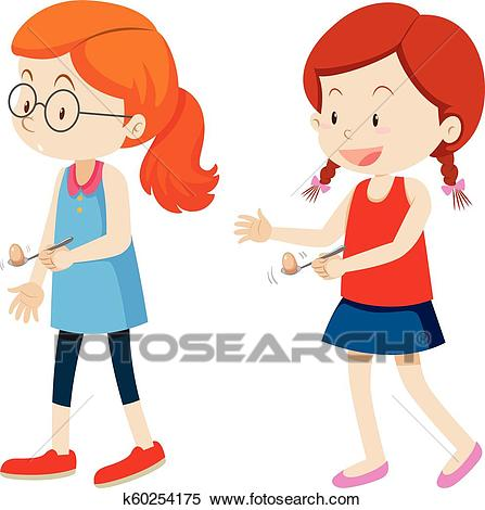 Girls and egg spoon race Clipart.