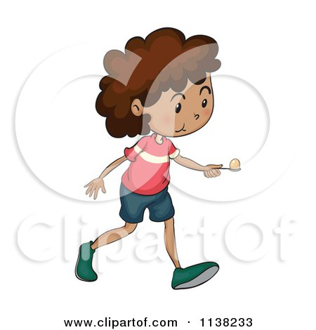 Black Girl Competing In An Egg And Spoon Race.