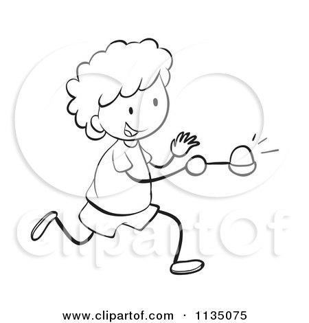 Cartoon Of A Black And White Egg Race Boy.