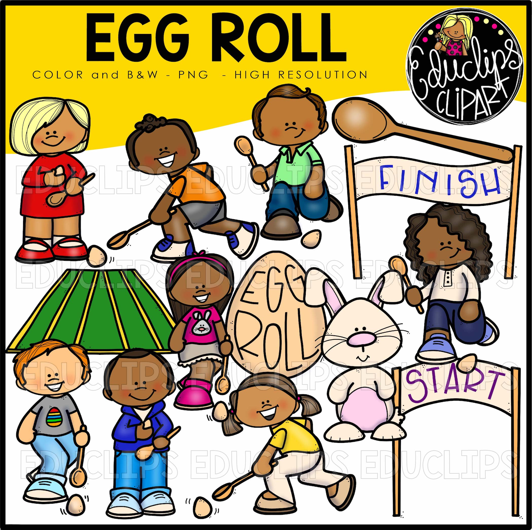 Egg Roll Clipart Big Bundle (Color and B&W).