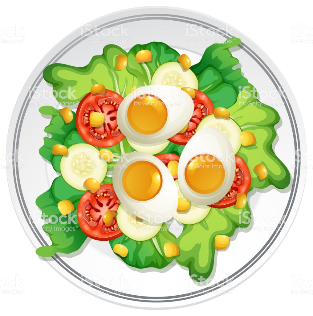 A Plate Of Egg Salad Stock Illustration.