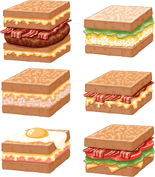 Egg Salad Sandwich Illustrations, Royalty.