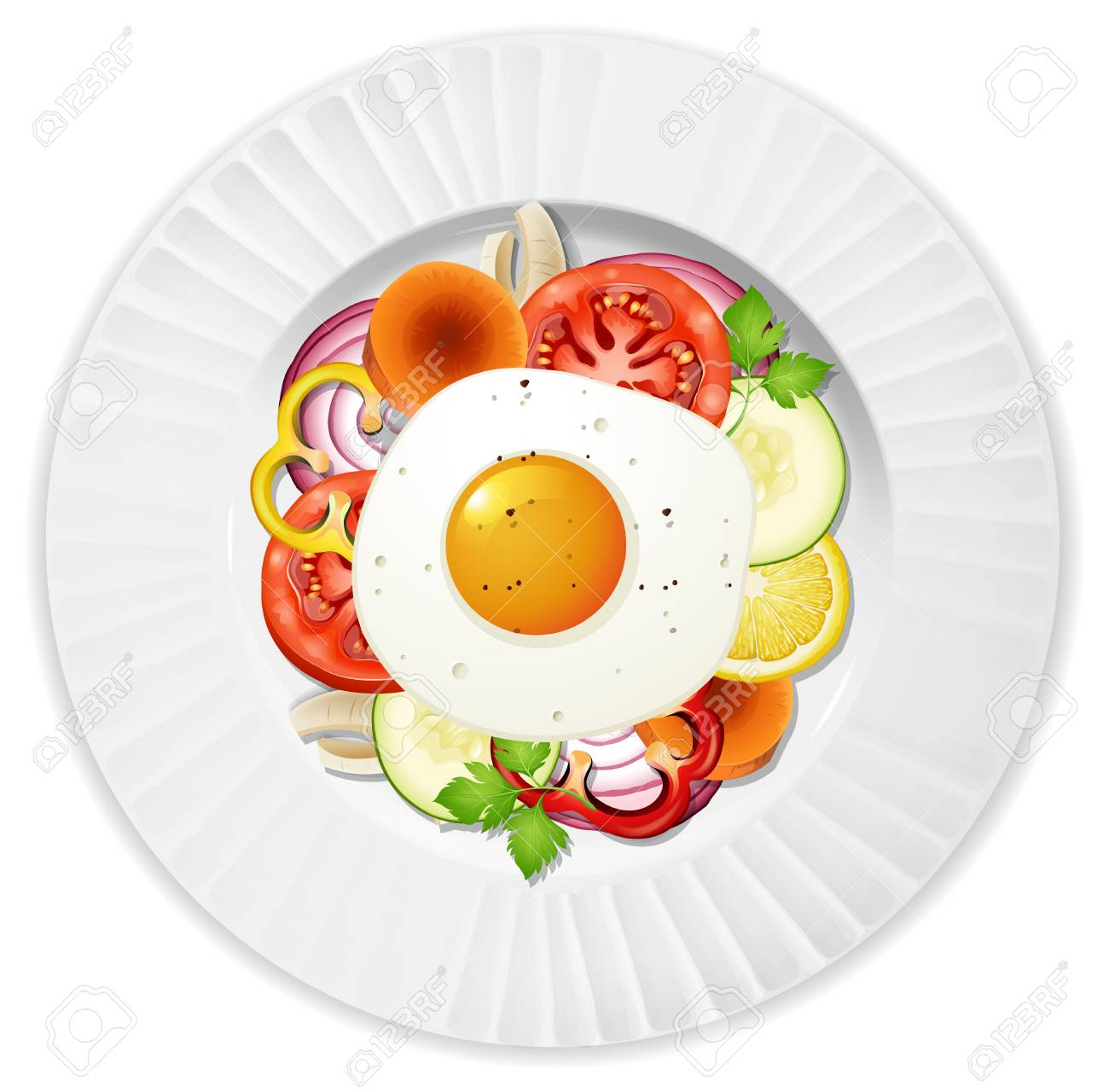 Healthy Egg Salad Top View illustration.