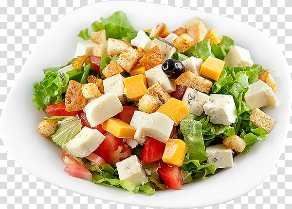 Bowl of vegetable salad illustration, Greek salad Caesar salad.