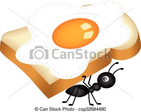 Vector of Ant carrying egg sandwich.