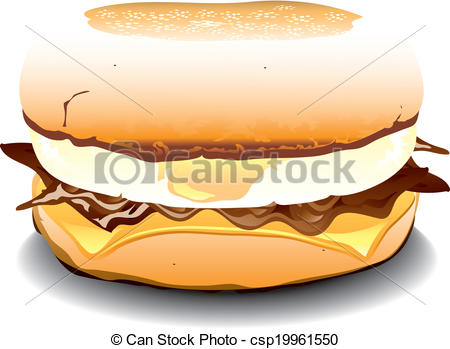 Clipart Vector of English Muffin Sandwich.