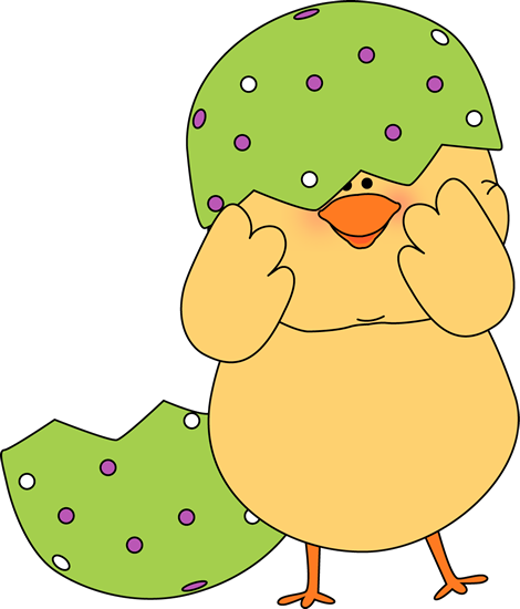 Easter Chick Stuck in Egg Shell Clip Art.