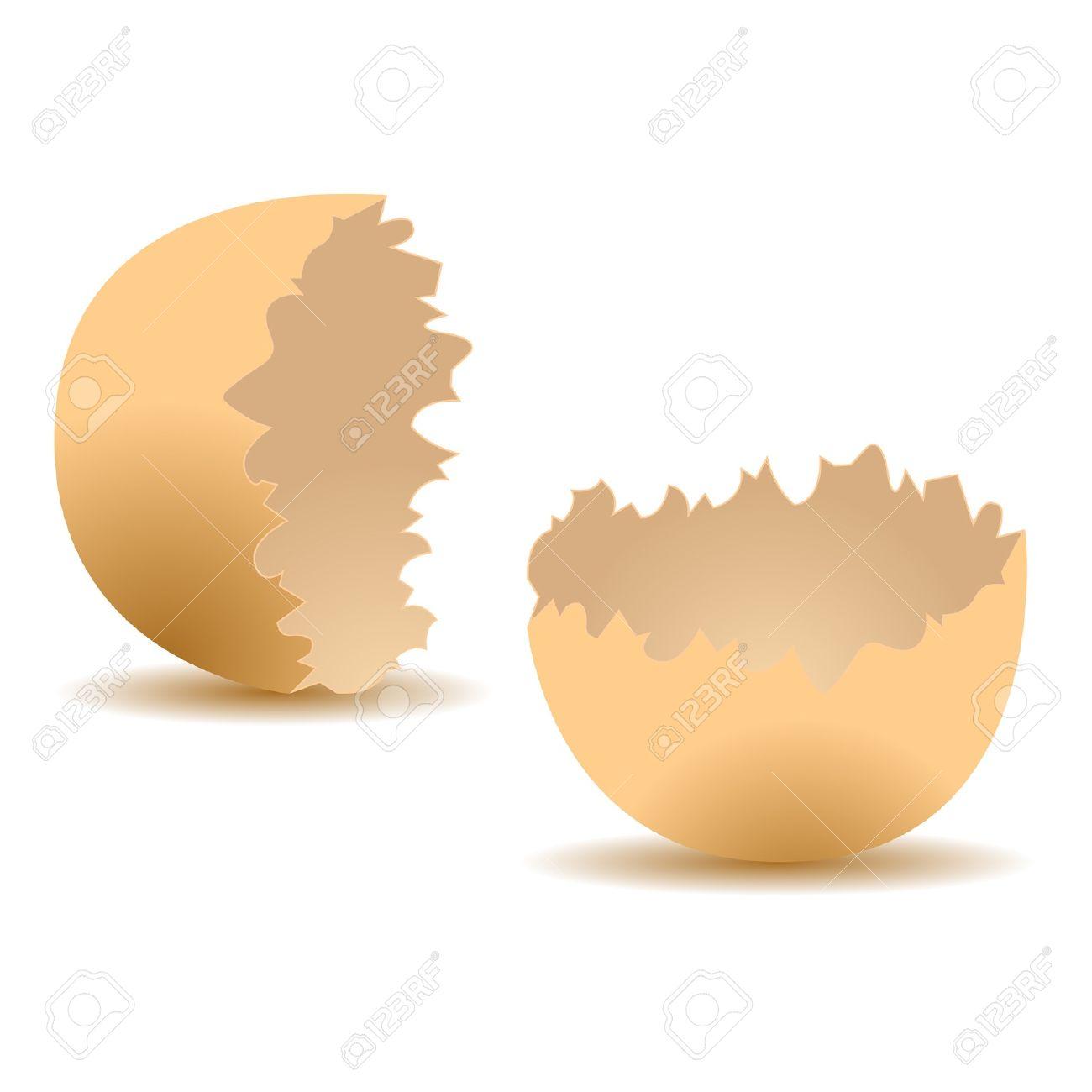 Cracked Egg Shell Isolated Over White Background Royalty Free.
