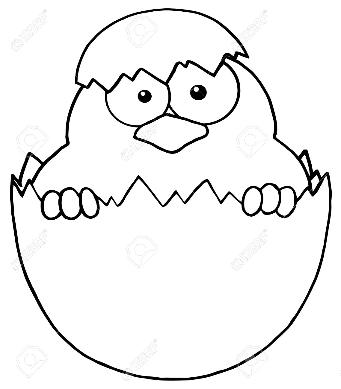 Outlined Surprise Chick Peeking Out Of An Egg Shell Royalty Free.