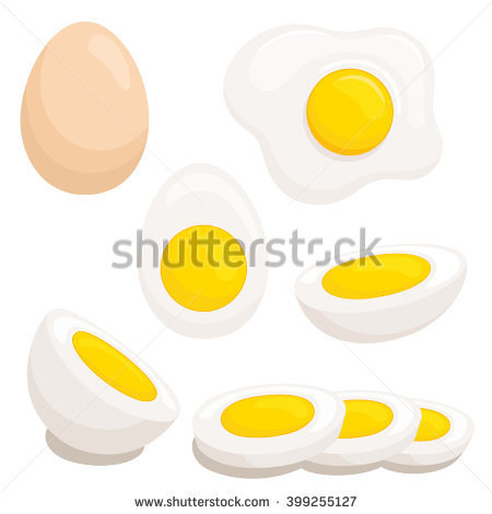 Fried Eggs on Frying Pan Vector Image.