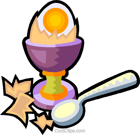 hard boiled egg in an egg cup Royalty Free Vector Clip Art.