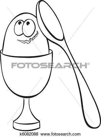 Clip Art of Egg in eggcup and spoon k6082088.