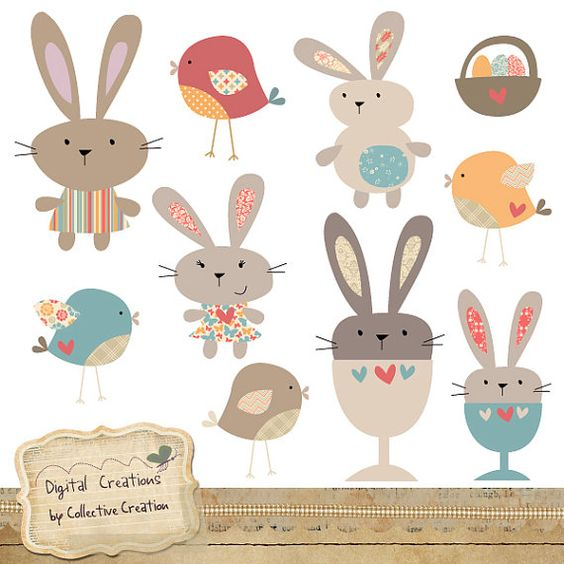 Egg Cup Bunny Rabbit and Bird Digital Clip by CollectiveCreation.