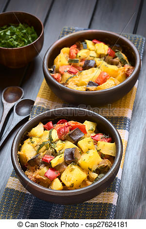 Pictures of Potato, Eggplant, Zucchini, Tomato Casserole.
