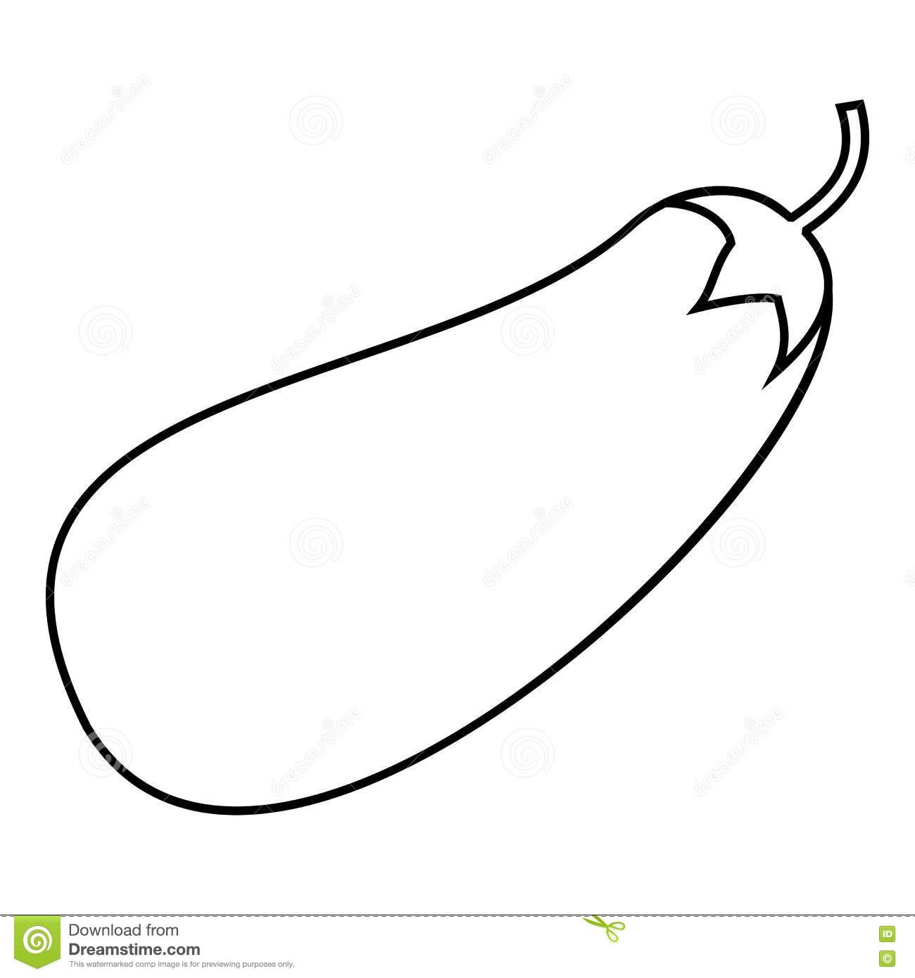 Eggplant Icon, Outline Style Stock Vector.
