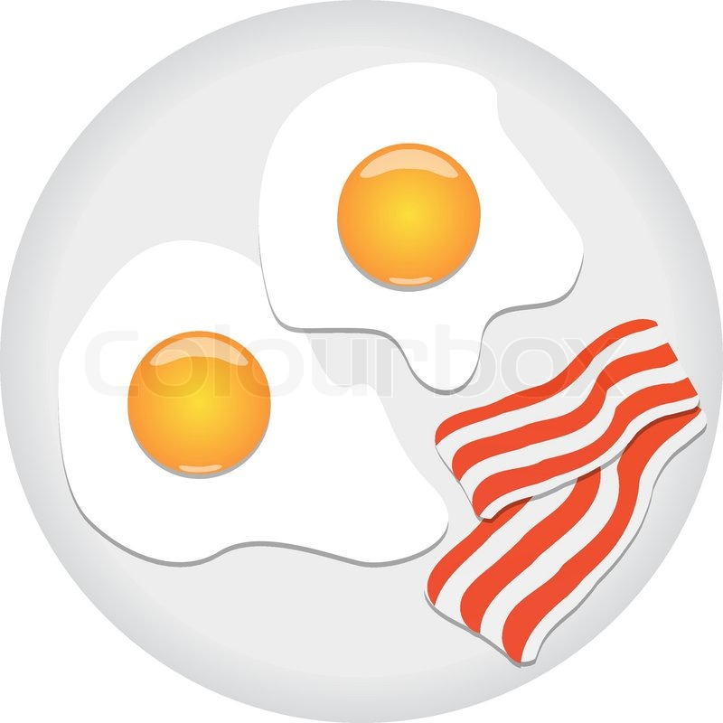 Fried eggs and bacon on plate.