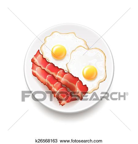 Bacon and eggs isolated on white vector Clipart.