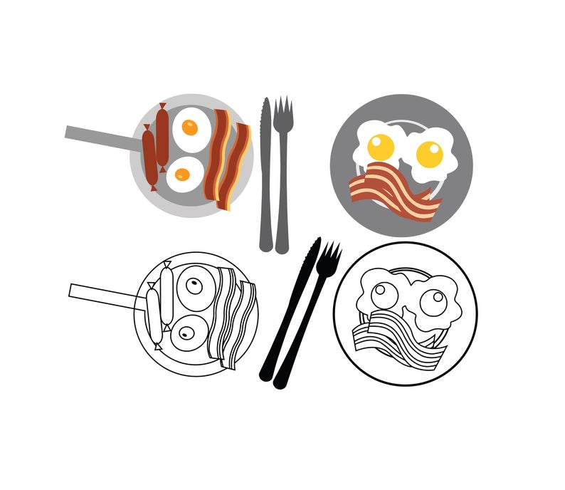 BACON and EGGS SVG Files, Bacon and Eggs Clipart, Bacon and Eggs for Cricut.