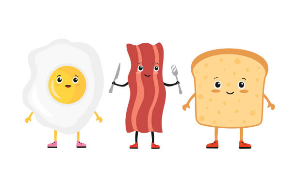 Eggs And Bacon Face Happy Illustrations, Royalty.