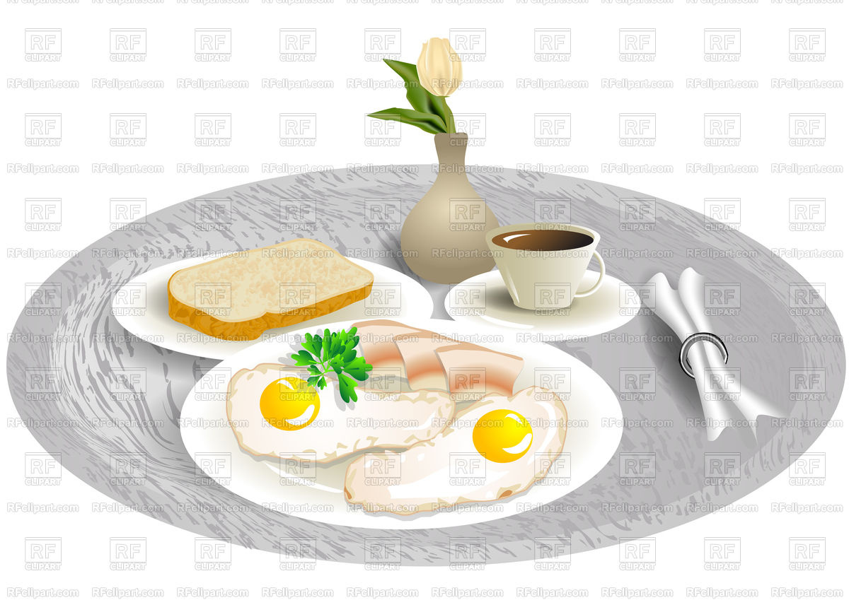 Breakfast tray with tulip, eggs and bacon Stock Vector Image.