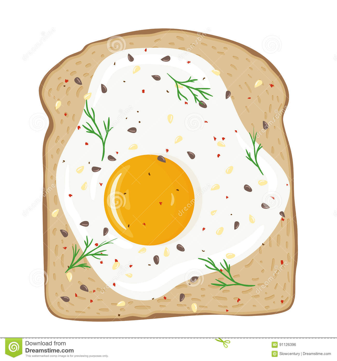 Fried Egg On Toast Bread. Delicious Egg Sandwich. Vector.