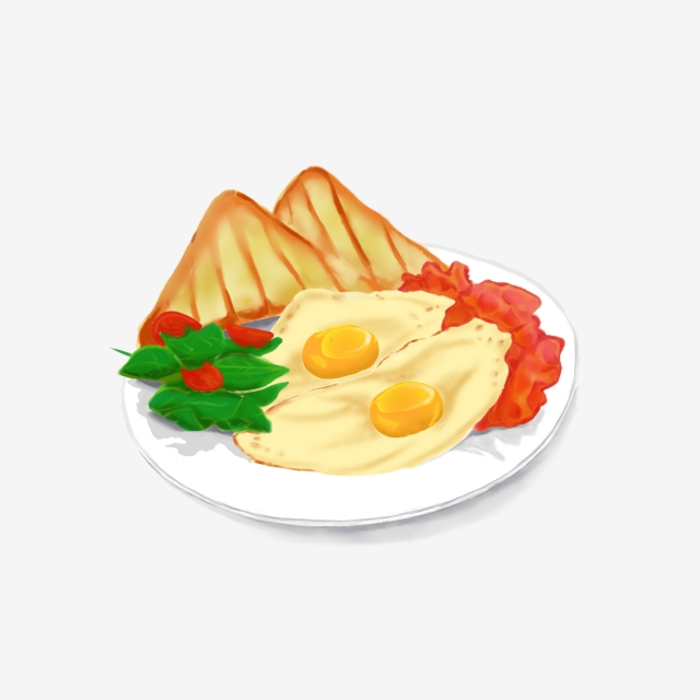 A Big Breakfast With Toast Vegetables And Fried Eggs, Food, Toast.