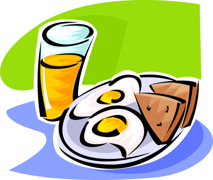 Fried Eggs, Toast and Orange Juice.